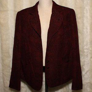 Tahari Vintage Dark Burgundy Shimmer Blazer Jacket